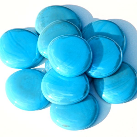 6 Large Glass Pebbles - Turquoise Opalescent